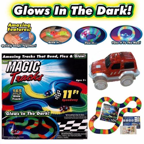 magic tracks 220 piezas pista magica carros flexible brilla