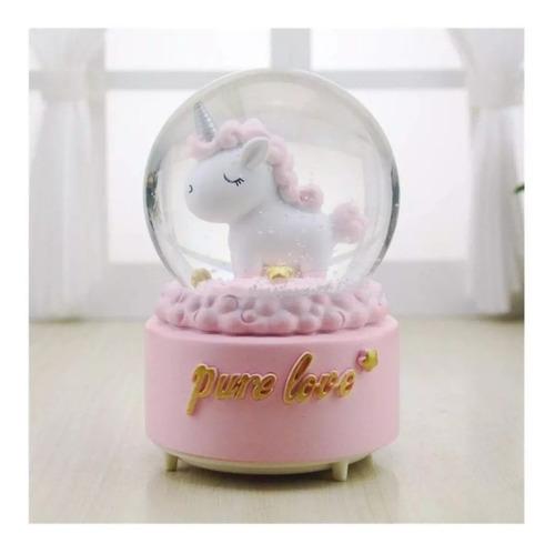 mágico globo bola  de nieve musical unicornio bebe.