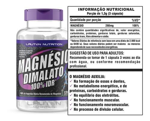 magnésio dimalato 100% idr - 120 capsulas lauton nutrition