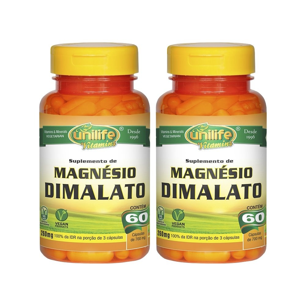 Magnésio Dimalato 60 Cápsulas Unilife Kit 2 Unidades