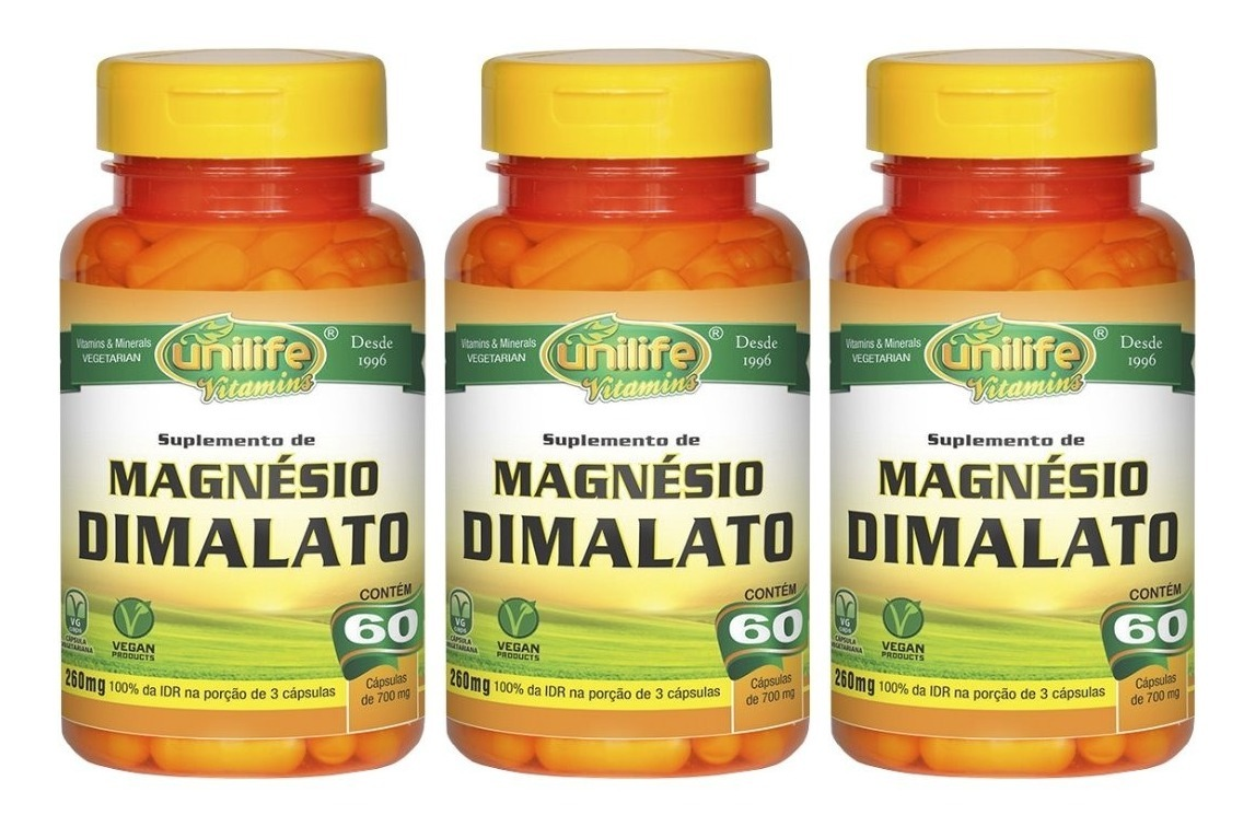 Magnésio Dimalato 60 Cápsulas Unilife Kit 3 Unidades