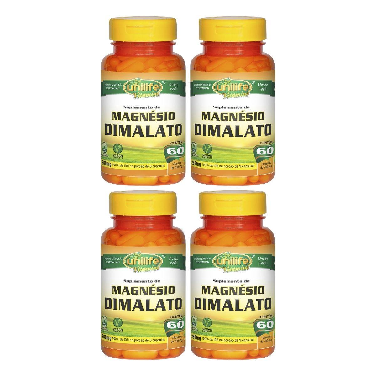 Magnésio Dimalato 60 Cápsulas Unilife Kit 4 Unidades