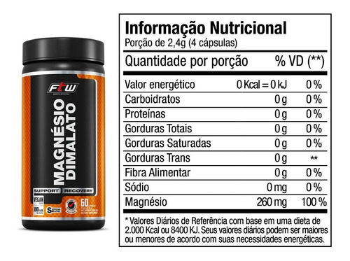 magnésio dimalato - ftw® - 60 cáps