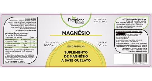 magnésio quelado 60 cápsulas 1000mg caixa 12 potes  premiun original fitoplant