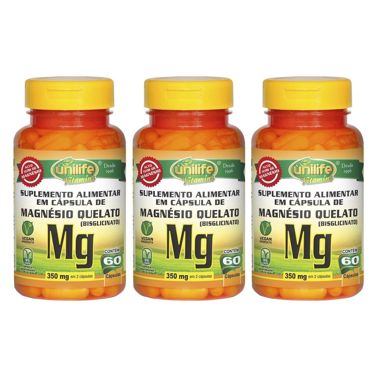 Magnésio Quelato Mg 60 Cápsulas Unilife Kit 3 Unidades