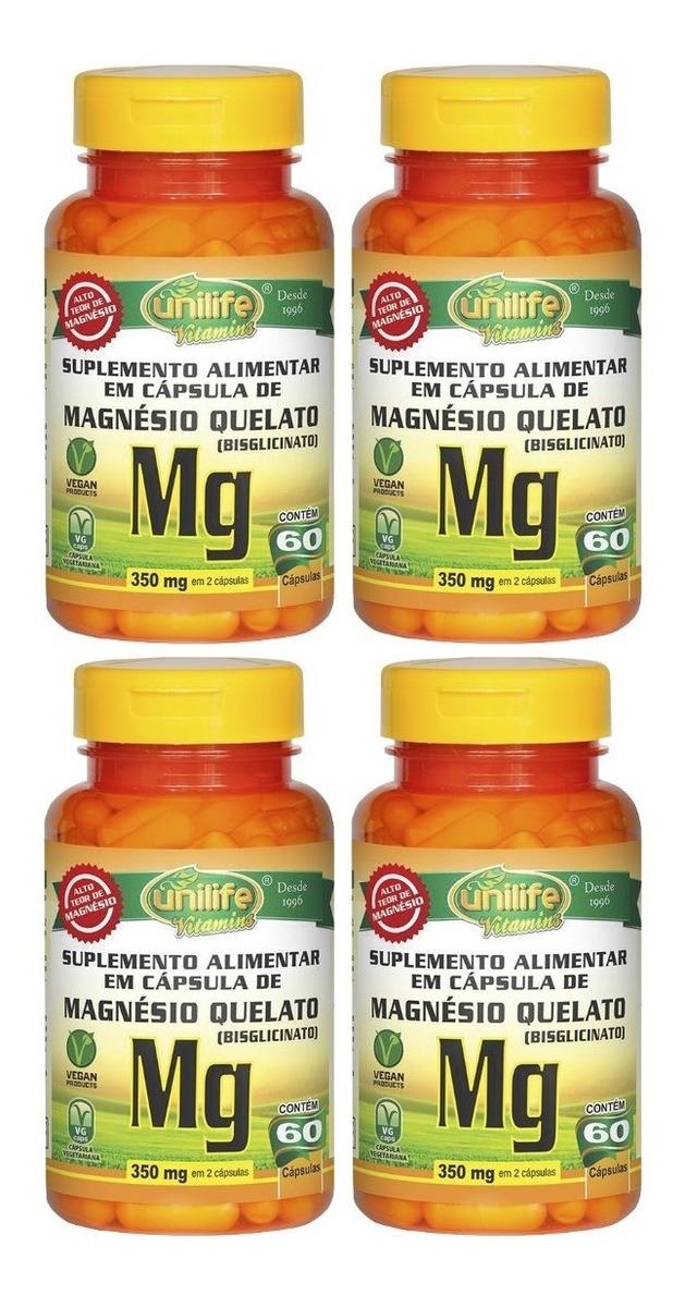 Magnésio Quelato Mg 60 Cápsulas Unilife Kit 4 Unidades