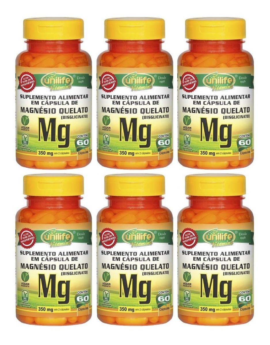 Magnésio Quelato Mg 60 Cápsulas Unilife Kit 6 Unidades