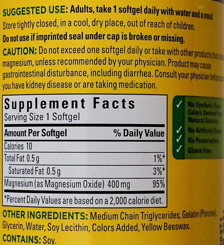 magnesium extra strength 400mg 180 softgel - l a $4