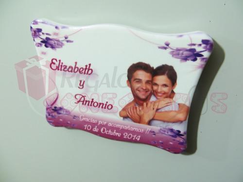 magneticos ceramicos recuerdo para matrimonio souvenir