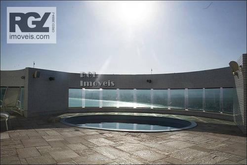 magnífica cobertura duplex no edifício tortugas, com terraço panorâmico de frente o mar em guaruja. - co0098