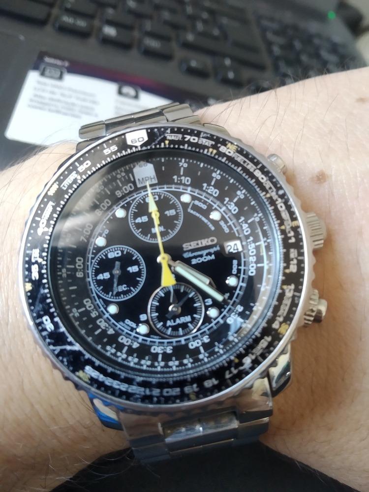 cfcdbbc9e8b Magnifico Relógio Seiko Flightmaster Sna411p1 - Aviator Calc - R ...