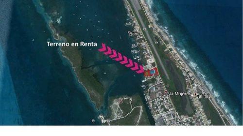 magnifico terreno en renta en isla mujeres. playa y carretera.