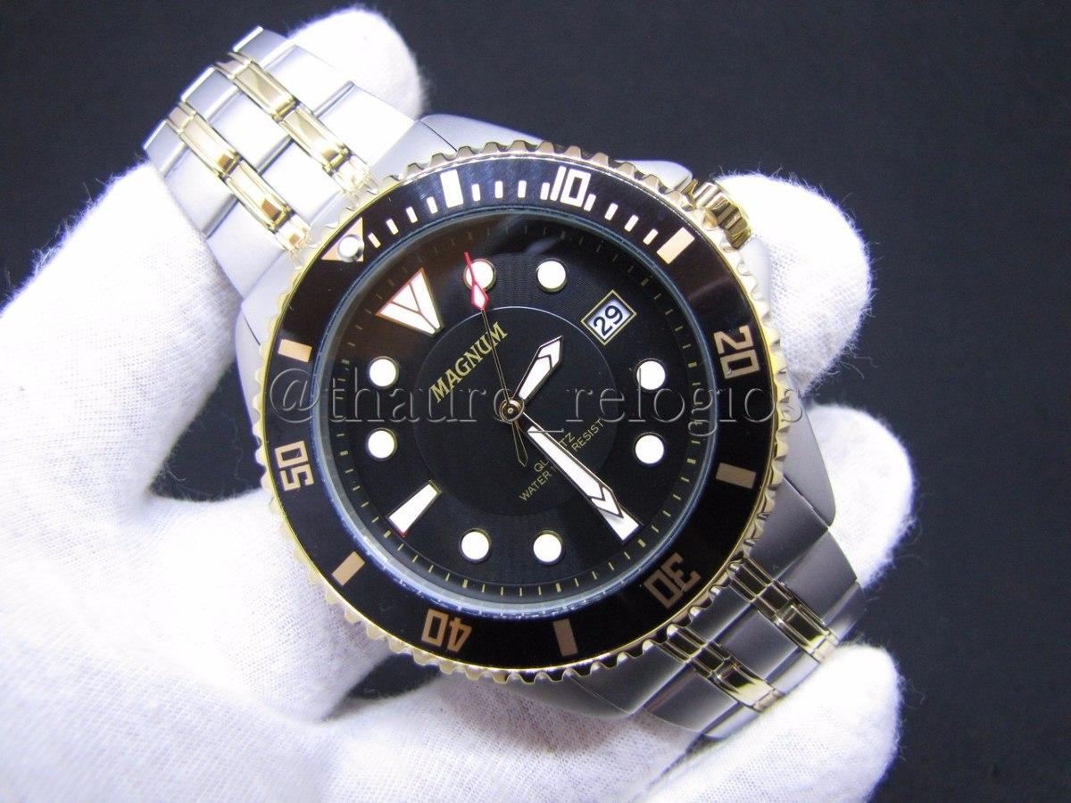 94c36b5d762 Carregando zoom... relógio magnum masculino ma32872p prata preto dourado  diver