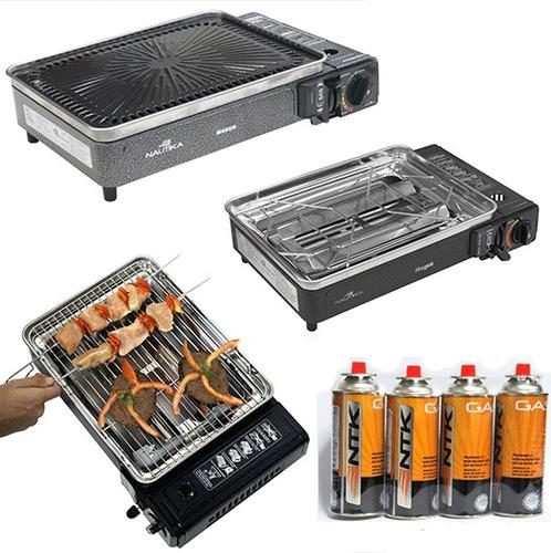 magus bbq 3 parrillas estufa + 3 tanque gas camping maleta
