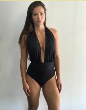 75a2158d8b91 Maiô Body Decote V Profundo Frente Única Costas Nuas Sexy E1 - R$ 85 ...