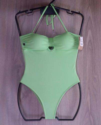 maiô body lacarô moda praia - tomara que caia - verde