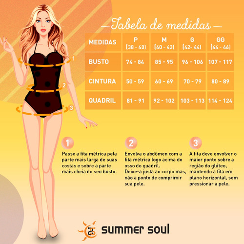 maiô frente única com bojo summer soul preto