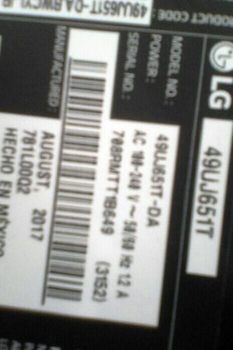 main board o tarjeta principal de tv lg 49uj651t