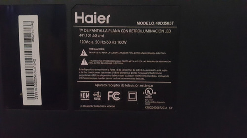 main para pantalla haier modelo 40d3505t
