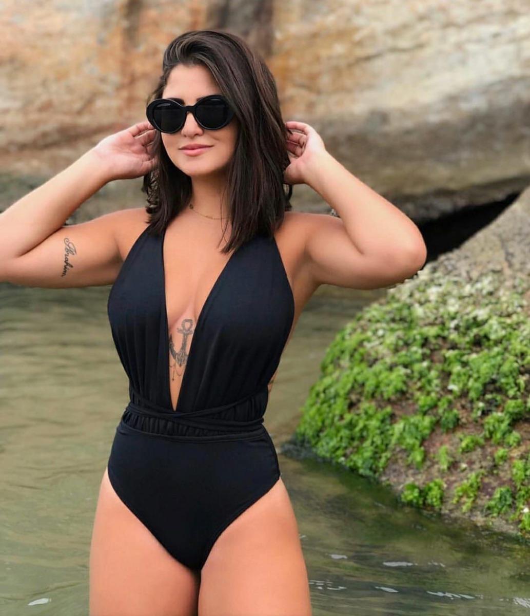 7174d33a5a2a Maio Preto Moda Praia Body Com Bojo - R$ 120,00 em Mercado Livre