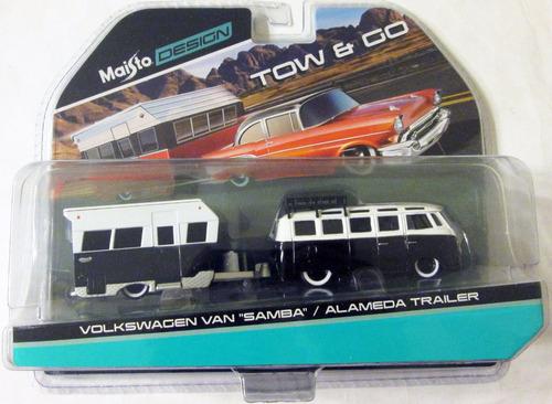 maisto kombi - volkswagen van samba y trailer - escala 1/64.