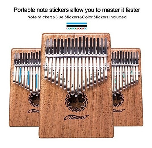 makanu 17 teclas kalimba thumb piano piano de cuerpo macizo