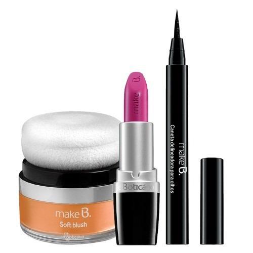 make b batom pink+soft blush+ caneta delineadora boticário