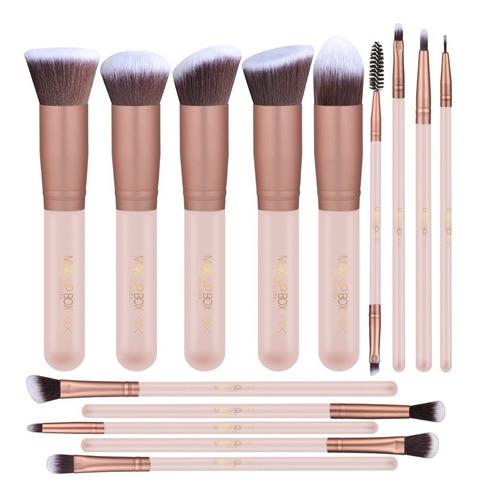 makeupbox 14 brochas de maquillaje kabuki rose gold pro