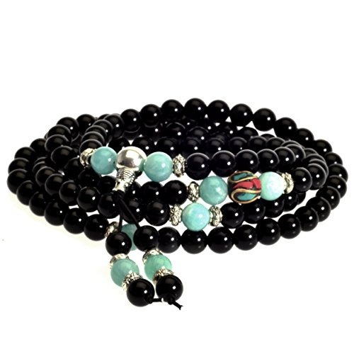 mala beads meditación tibetana budista genuino negro 108 pie