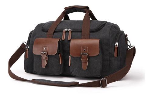 mala de viagem masculina de bordo compacta de lona e couro + alça de ombro executiva retrô disponível em 3 cores