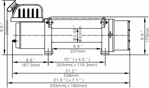 malacate eléctrico 12v 8000 lb (3628kg) bullwinch