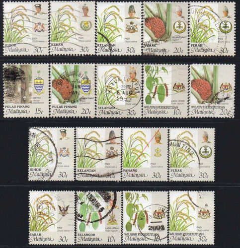 malásia - agricultura e brasões - 1986
