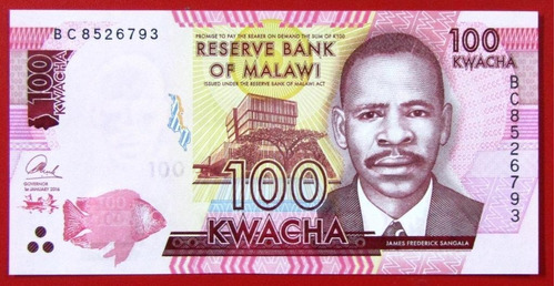 malawi billete 100 kwacha 2016 pick 65b unc sin circular
