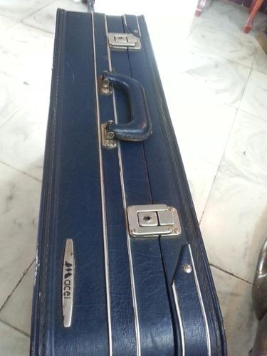 maleta antigua marca macel en cuero seguros metalicos