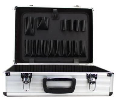 maleta barbeiro cabeleireiro preta c/ divisórias