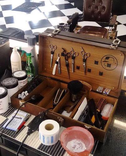 maleta barbeiro mdf borrifador saboneteira vintage barber