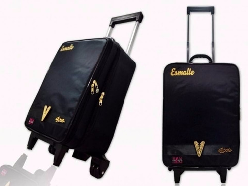 maleta c/ rodinhas p/ 144 esmaltes porta cosmético manicure