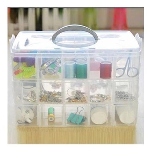 maleta caixa 30 divisorias box costura ferramentas modular