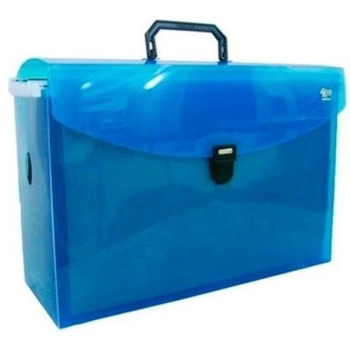 maleta caixa arquivo azul kit c/10 pastas suspensa kraft