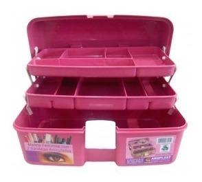 maleta caixa organizadora feminina c/ 2 bandejas articuladas