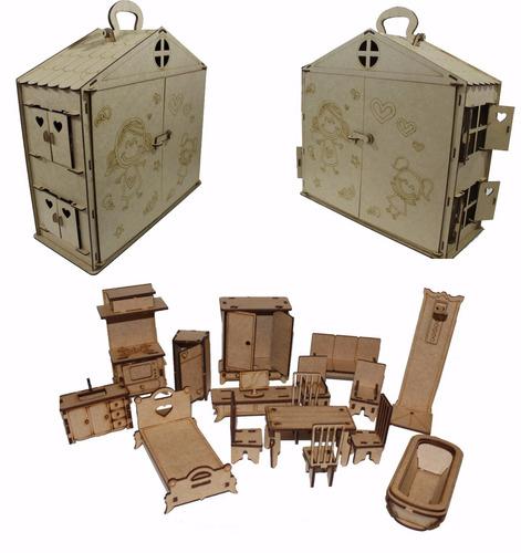 maleta casa casinha boneca polly +17 mini móveis mdf show!!!