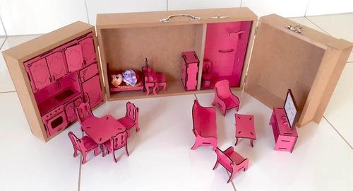 maleta casinha de boneca mdf