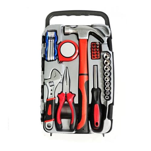 maleta com 31 ferramentas, alicate, martelo, chaves, trena..