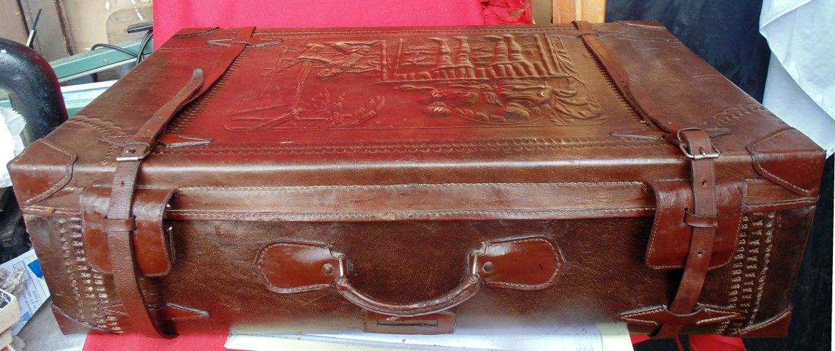 Maleta cuero antigua cuero repujado indios amazonas - Comprar maletas antiguas decoracion ...