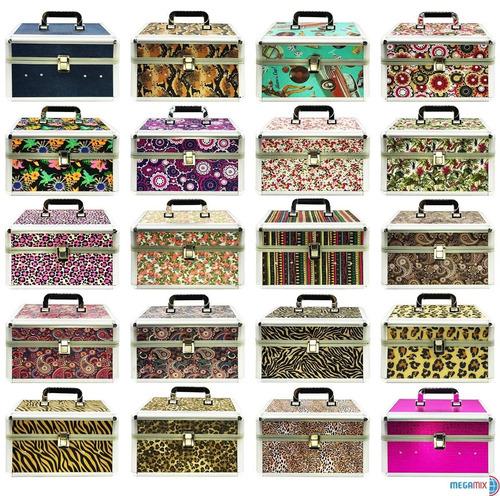 maleta de maquiagem profissional grande varias cores+batom