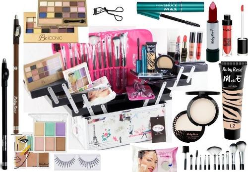 maleta de maquiagem profissional kit completo ruby avon v327