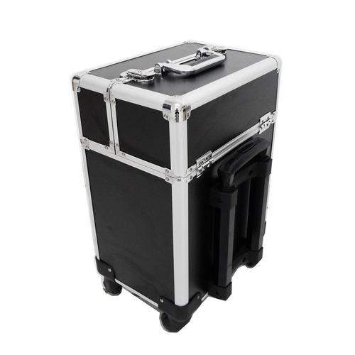 maleta de maquiagem profissional rodinha grande luxo preta