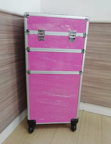 maleta de maquillaje o manicure xxl con carro 3 en 1
