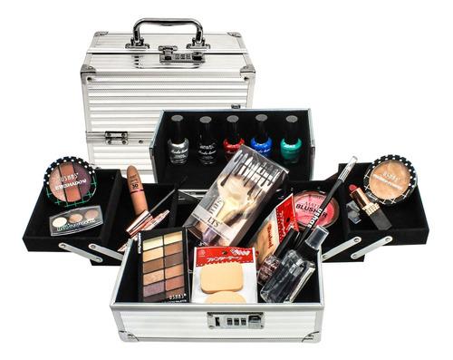 maleta de maquillaje profesional completa cosmeticos - el re