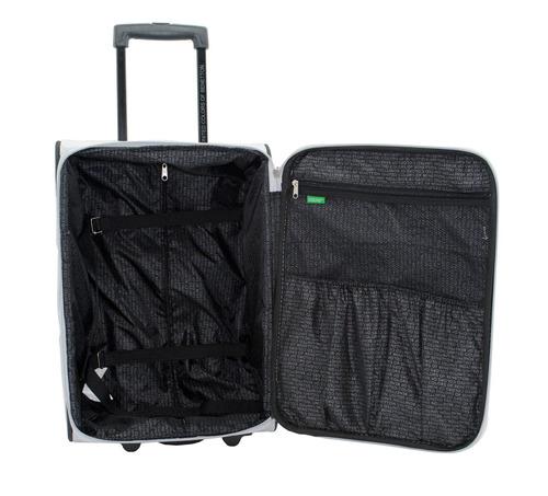 maleta de viaje benetton 59h61336-6  24   plata negro